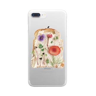押し花トースト Clear smartphone cases