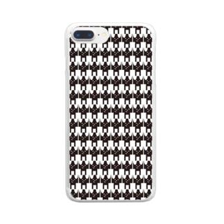 モノトーンワンコ Clear smartphone cases