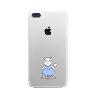ねこのお姫さま(ブルー) Clear smartphone cases