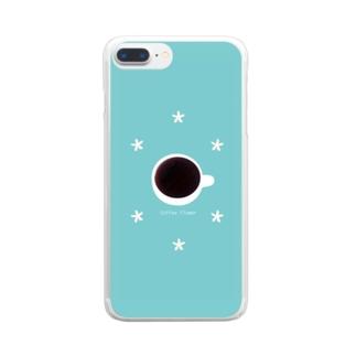 *コーヒーの花柄* Clear smartphone cases