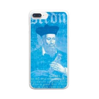 ノストラダムス_予言コラージュ_ブルー Clear smartphone cases
