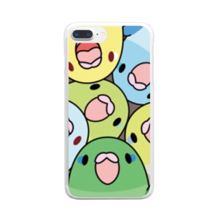 みっちりマメルリハさん【まめるりはことり】 Clear smartphone cases