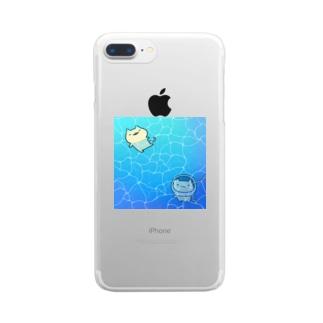 ネコの夏休み Clear smartphone cases