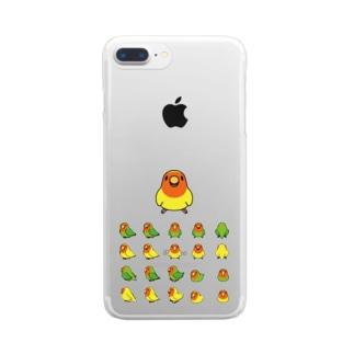 整列コザクラインコ隊【まめるりはことり】 Clear smartphone cases