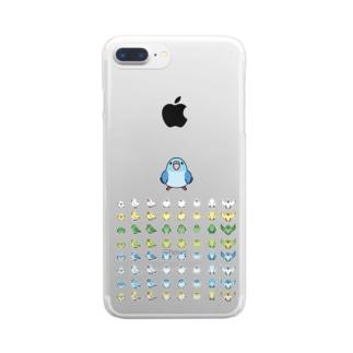 整列マメルリハ隊【まめるりはことり】 Clear smartphone cases