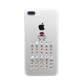 整列文鳥隊【まめるりはことり】 Clear smartphone cases