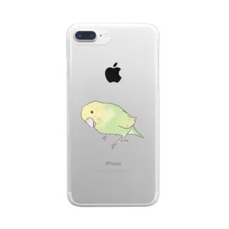 首傾げ スパングルセキセイインコちゃん【まめるりはことり】 Clear smartphone cases
