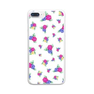 白地に三色花柄 Clear smartphone cases
