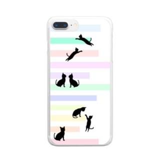 猫(ネコ)とパステルカラーの階段 Clear smartphone cases