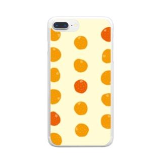 3つのオレンジが、濃い。 Clear smartphone cases