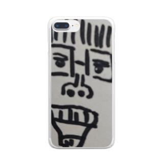 旦那が描いた、のりちゃん(私の顔) Clear smartphone cases