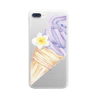 プルメリア付きアイス Clear smartphone cases