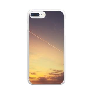 バリ島の夕日と飛行機雲 Clear smartphone cases