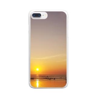 バリ島の夕日 Clear smartphone cases