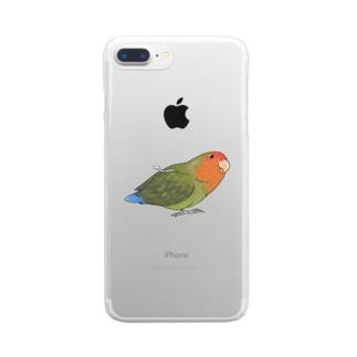 おすましコザクラインコ きなこちゃん【まめるりはことり】 Clear smartphone cases