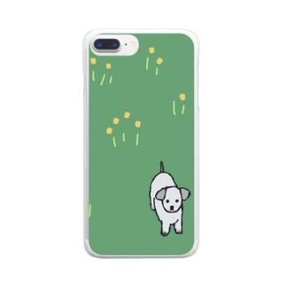 野原に立つ犬 Clear smartphone cases