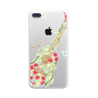 お花ギター Clear smartphone cases
