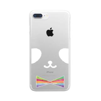 ヒフミ ヨイのカラフル蝶ネクタイ パンダ(白目) Clear smartphone cases