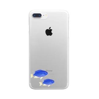 青い魚のソラスズメダイ Clear smartphone cases