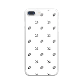 #かめつる柄 _ 白 Clear smartphone cases