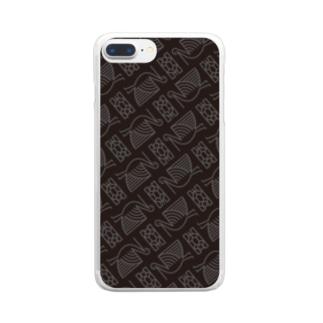 #鶴亀 柄 Clear smartphone cases