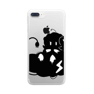 モノクロ/帯電/鉄たわし Clear smartphone cases