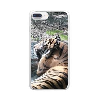 眠いトラ Clear smartphone cases