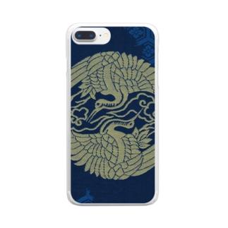 承香院(じょうこういん)オリジナルグッズの承香院(じょうこういん) 雲鶴紋プリントグッズ Clear smartphone cases