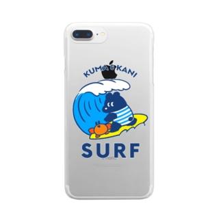 波に乗るクマとカニ Clear smartphone cases
