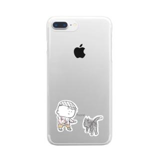 猫にちょっかいだす夫・サミ太郎 Clear smartphone cases