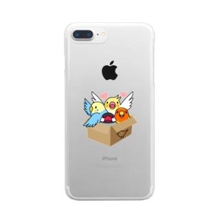 拾ってくださいインコ【まめるりはことり】 Clear smartphone cases
