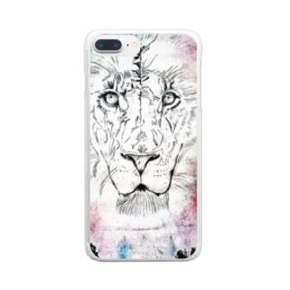 lifejourneycolorfulのカラフルなライオン Clear Smartphone Case
