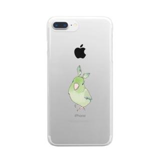 お羽飾り マメルリハちゃん【まめるりはことり】 Clear smartphone cases