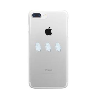 可愛いアメリカンホワイト マメルリハちゃん【まめるりはことり】 Clear smartphone cases
