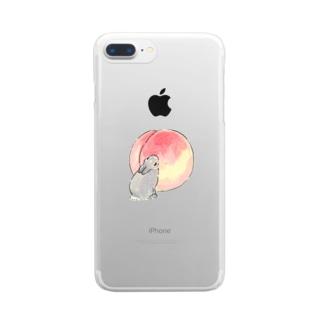 桃とうさぎさん(グレー) Clear smartphone cases