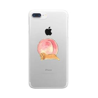 桃とうさぎさん(オレンジロップ) Clear smartphone cases