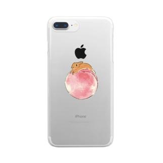 桃とうさぎさん(オレンジネザー) Clear smartphone cases