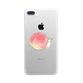 桃とうさぎさん(ふわふわ) Clear smartphone cases