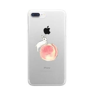 桃とうさぎさん(ホワイト) Clear smartphone cases