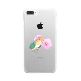 お花とシロハラインコちゃん【まめるりはことり】 Clear smartphone cases