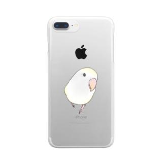 コザクラインコ バイオレットパイドちゃん【まめるりはことり】 Clear smartphone cases