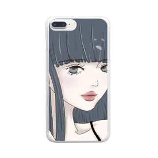 黒髪ロングの女の子と桜 Clear smartphone cases
