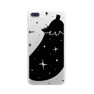 富ます秋なす(白黒) Clear smartphone cases
