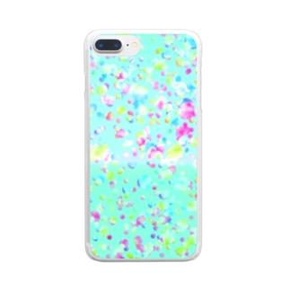 シャボン玉(ブルー) Clear smartphone cases