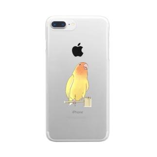 得意げ可愛い コザクラインコちゃん【まめるりはことり】 Clear smartphone cases