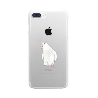 まめるりはことりのアルビノセキセイインコちゃん【まめるりはことり】 Clear smartphone cases