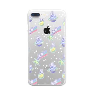 宇宙うさぎスマホケース Clear smartphone cases