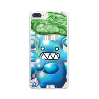 POISONCHARM電脳露店2号のグリちゃんと里芋傘 Clear smartphone cases