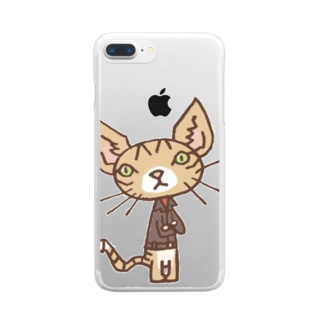 ワタニャベ ネコ Clear smartphone cases