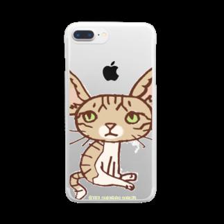 ザ・ワタナバッフルの ワタニャベ ネコ Clear smartphone cases